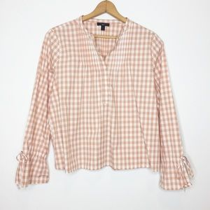 J Crew gingham top size large 100% cotton EUC
